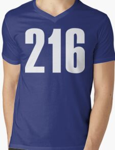 216 Cleveland [White Ink]   Phone Area Code Shirts Stickers Mens V-Neck T-Shirt