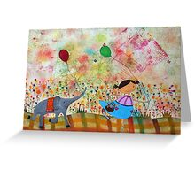 Girl and Elephant  Greeting Card