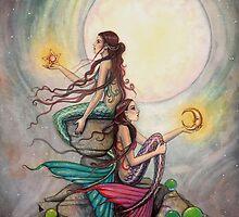 Gemini Mermaids Fantasy Art Illustration by Molly Harrison by Molly  Harrison