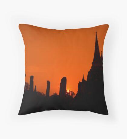 Sunset in Ayutthaya - Thailand Throw Pillow