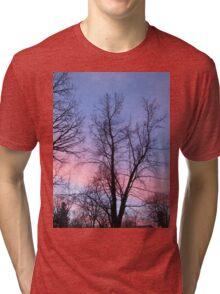 Vertical Purple and Pink Sunrise  Tri-blend T-Shirt