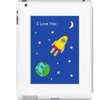 I love you to the moon and back, cat in rocket. iPad Case/Skin