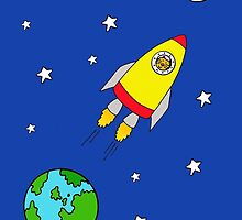 I love you to the moon and back, cat in rocket. by KateTaylor