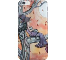 Fall Slumber Witch and Cat in Tree Molly Harrison Fantasy Art iPhone Case/Skin
