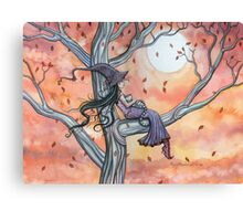 Fall Slumber Witch and Cat in Tree Molly Harrison Fantasy Art Canvas Print