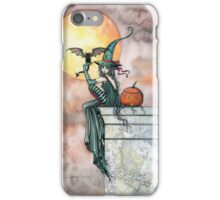 Batty Cat Witch Halloween Fantasy Art by Molly Harrison iPhone Case/Skin