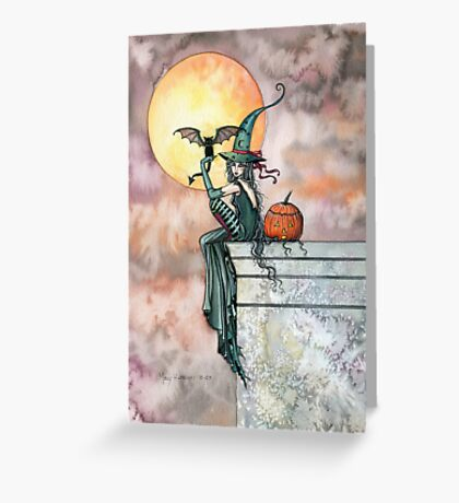 Batty Cat Witch Halloween Fantasy Art by Molly Harrison Greeting Card