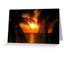 Palm Tree Silhouette, Sunset Greeting Card