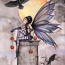 Autumn Raven Fantasy Gothic Fairy and Ravens  by Molly  Harrison