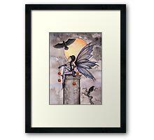 Autumn Raven Fantasy Gothic Fairy and Ravens  Framed Print