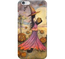October Fields Halloween Witch and Scarecrow Fantasy Art iPhone Case/Skin