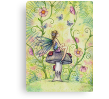 A Happy Place Flower Fairy and Ladybugs Canvas Print