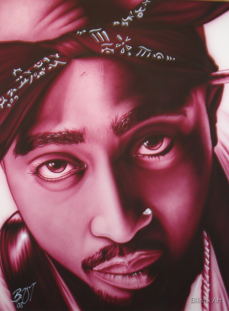 Tupac Shakur Airbrushed Portrait by Bilistik Art