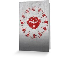 Barrel of 12 Monkeys (Red Paint) Greeting Card