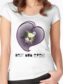 wildflower, Best Mum EVER! heart quirky Women's Fitted Scoop T-Shirt