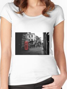 Red telephone box Women's Fitted Scoop T-Shirt