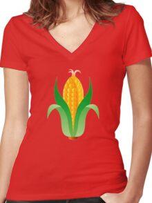 Corn Women's Fitted V-Neck T-Shirt