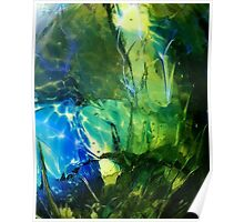 Blue Green Ocean Glass Design Poster