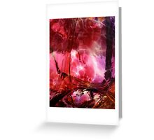 Pomegranate Red and Purple Glass Design Greeting Card