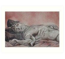Male Nude Laying Down (Drawing)- Art Print