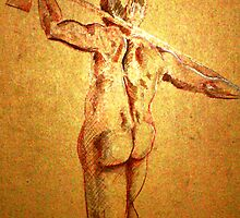 Standing Male Nude (Digital Alteration of Drawing)- by Robert Dye