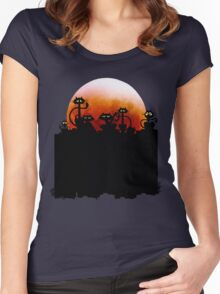 Black Cats On A Fence and Moon Women's Fitted Scoop T-Shirt
