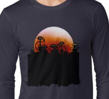 Black Cats On A Fence and Moon Long Sleeve T-Shirt
