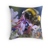 Bumble bee on a Buddleia flower  Throw Pillow