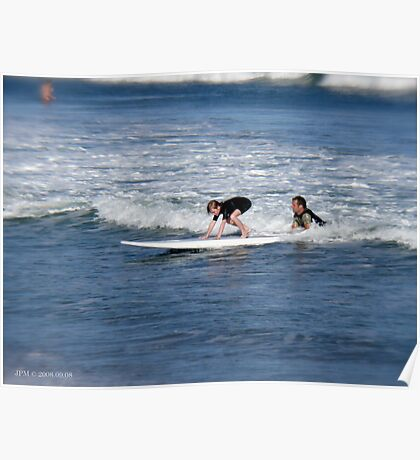 Learning to surf at Narragansett Beach Poster