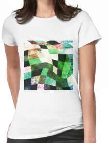 Green & Black Wavy Modern Design Womens Fitted T-Shirt