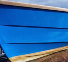 Little Blue Boat At Shaldon, Devon 2 Sticker