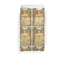 'Obraz' by Alphonse Mucha (Reproduction) Duvet Cover
