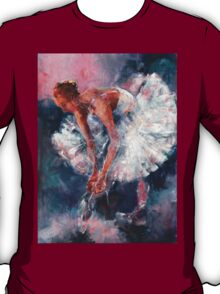 Ballet Dancer in White Dress Tying Shoe Ribbons T-Shirt