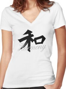 Harmony in Black with English & Japanese Tshirt Women's Fitted V-Neck T-Shirt