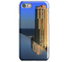 Reflections on a chrome handrail iPhone Case/Skin