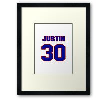 National football player Justin Tryon jersey 30 Framed Print