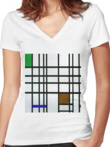 Composition in Sad Frog Women's Fitted V-Neck T-Shirt