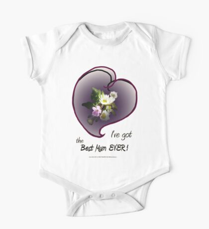 wildflower, Best Mum EVER! heart One Piece - Short Sleeve