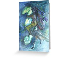 On Horseback. Greeting Card