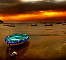 Blue boat, orange sky. by Melinda Kerr