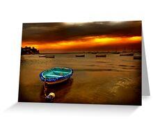 Blue boat, orange sky. Greeting Card