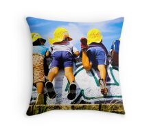 Children at the Seawall Throw Pillow