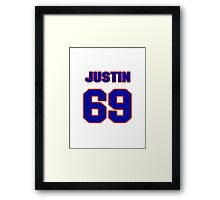 National football player Justin Trattou jersey 69 Framed Print