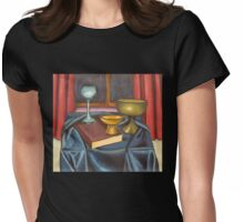 bowls and book still life Womens Fitted T-Shirt