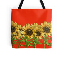 Sunflowers Red Tote Bag