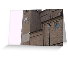 Church Clock in Monticello d'Alba Italy Greeting Card