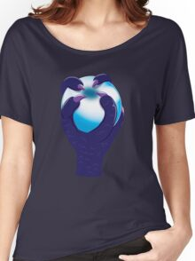 A taloned hand grasping a white ORB Women's Relaxed Fit T-Shirt