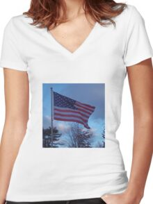 Flag of the USA, Red, White and Blue Women's Fitted V-Neck T-Shirt