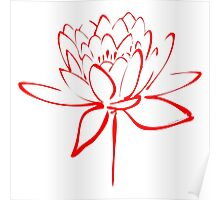 Lotus Flower Calligraphy (Red) Poster
