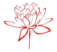 Lotus Flower Calligraphy (Red) Photographic Print
